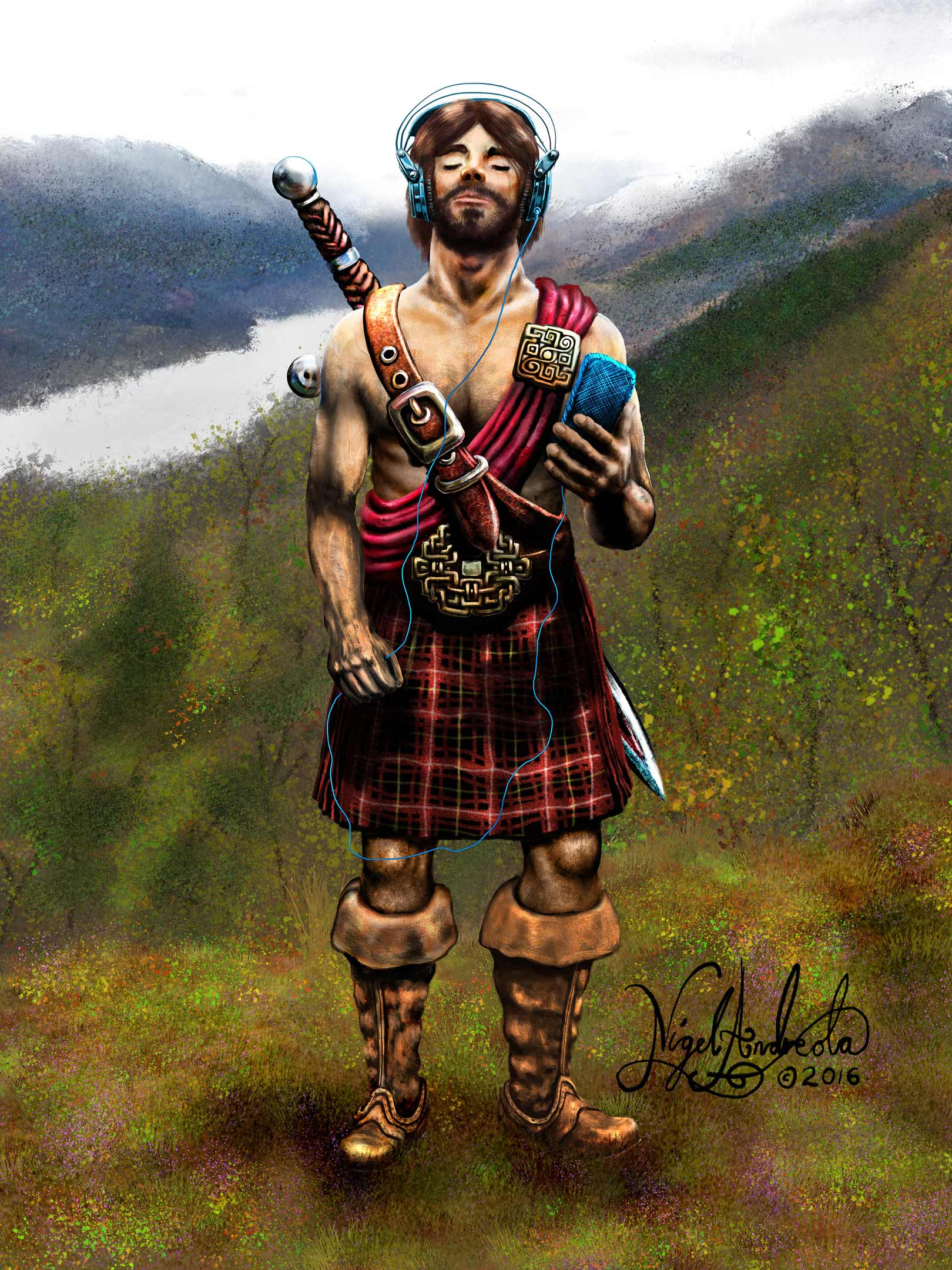 Celtic Warrior with an iPod